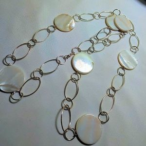 """Silver-tone and """"mother of pearl"""" Long Necklace"""
